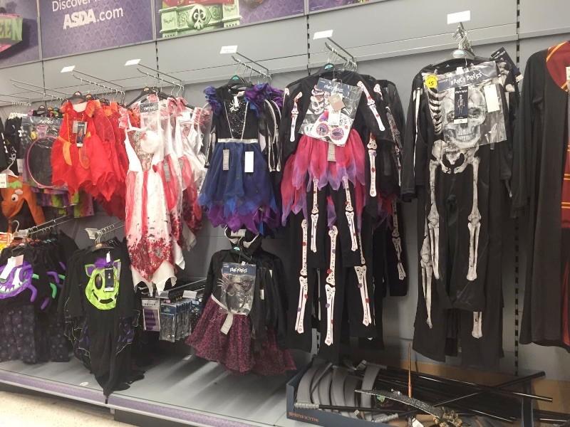 Halloween costumes in supermarket